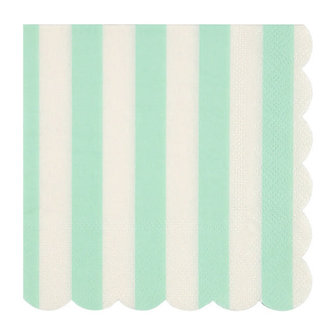 Mint and White Striped Small Napkins