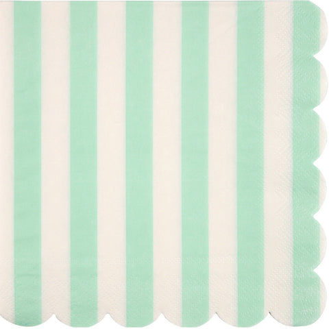 Mint and White Striped Large Napkins