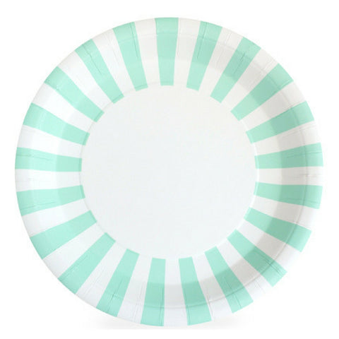 Mint and White Striped Large Plate
