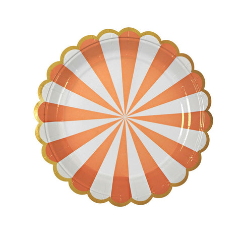 Orange and White Radial Small Plate