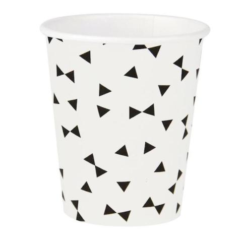 Black and White Black Tie Triangles Cups
