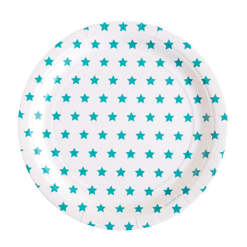 Turquoise and White Stars Large Plate