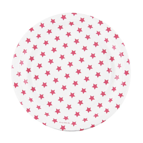 Hot Pink and White Stars Large Plate