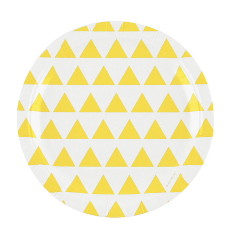 Yellow and White Triangles Large Plate