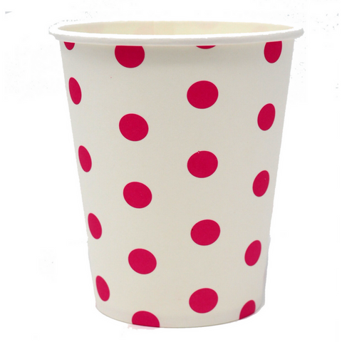 Hot Pink and White Dots Cups