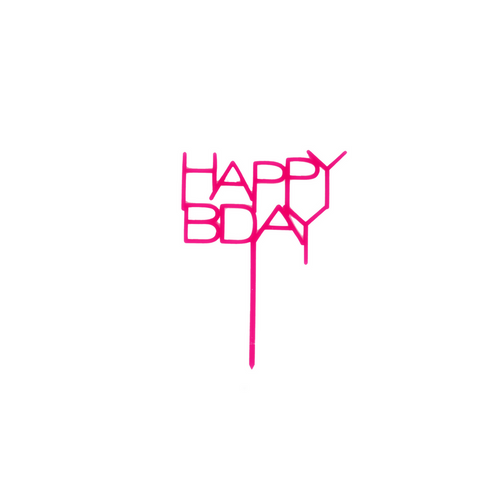 Hot Pink Acrylic Happy Bday Topper