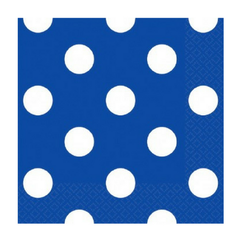 Royal Blue and White Dots Small Napkins