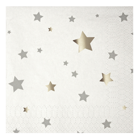 Silver and White Star Small Napkins