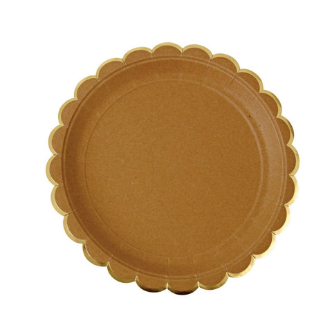 Kraft with Gold Trim Scalloped Small Plate