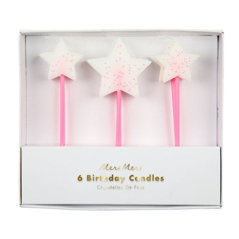 White Glitter Star Birthday Candles