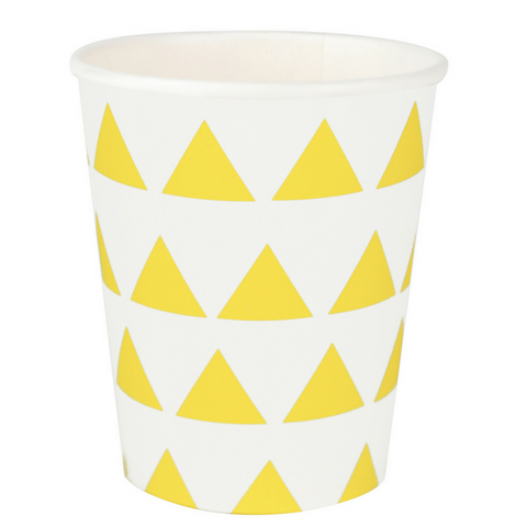 Yellow and White Triangles Cups