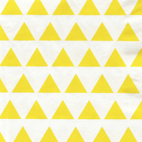Yellow And White Triangles Large Napkins