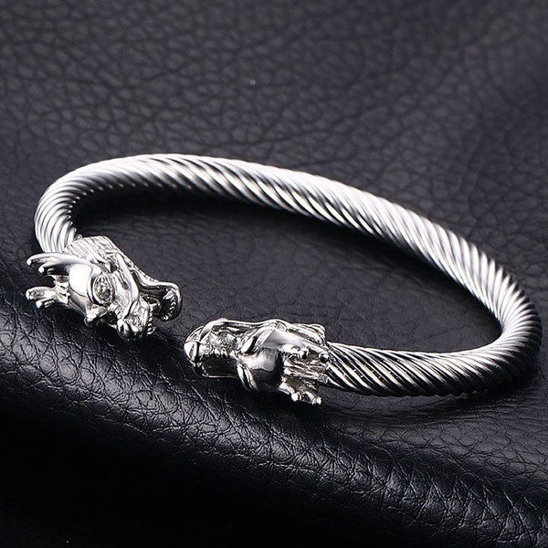 Mens Twisted Steel Cable Dragon Bracelet