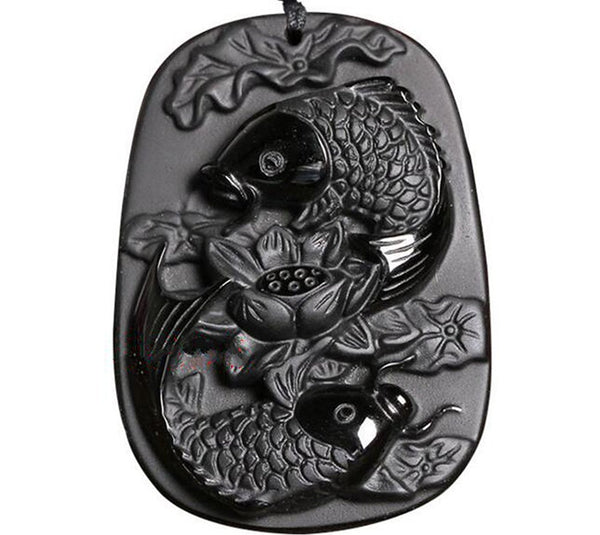Koi and Lotus Black Obsidian Pendant With Beaded Necklace