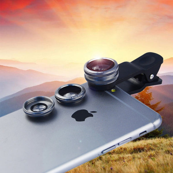 3 in 1 Universal Fish Eye + Wide Angle + Macro Lens for iPhone and Samsung Smartphones