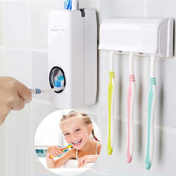Automatic Toothpaste Dispenser + 5 Toothbrush Holder Family set