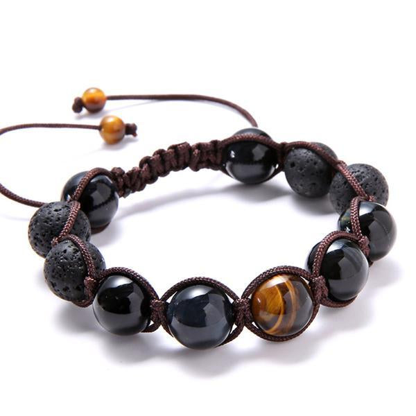 Tiger's Eye and Obsidian Beaded Bracelet