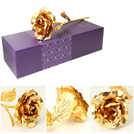 Real Preserved Gold Rose W/ Gift Wrapped Box