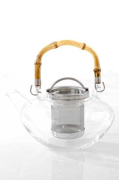 bamboo glass tea pot