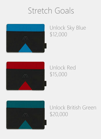Mark wallet stretch goal in sky blue, red and british green
