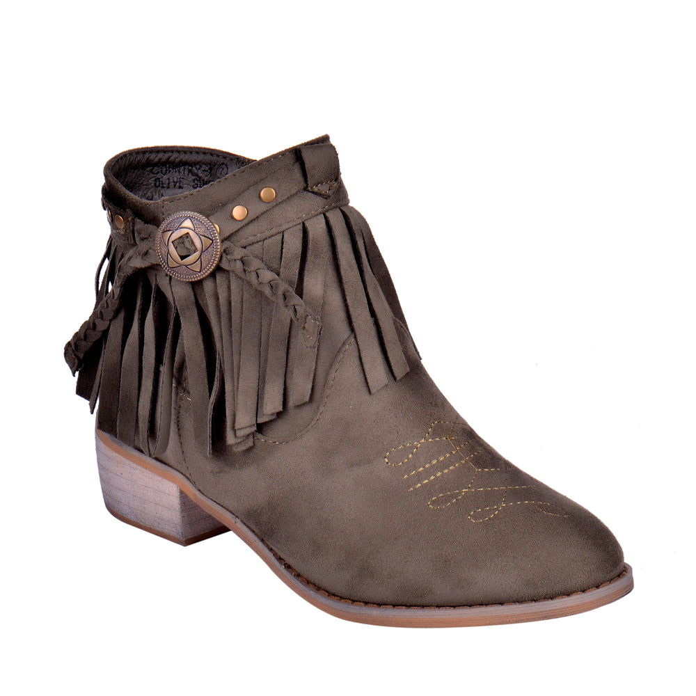 Country - Low Heel Ankle Fringe Booties - Blue Suede Shoes NY - Boots - Blue Suede Shoes NY