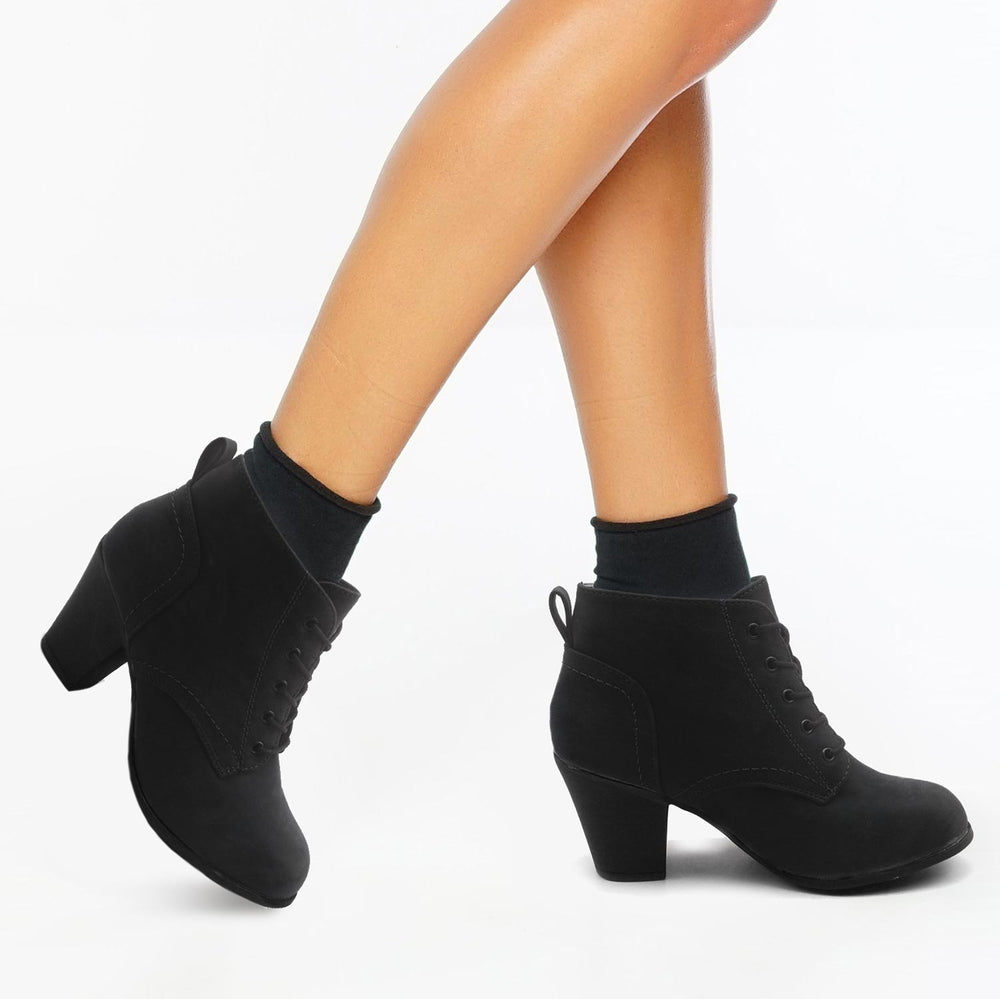 KENDRA Low Heel Ankle High Lace Up Fashion Boots - Blue Suede Shoes NY - Boots - Blue Suede Shoes NY