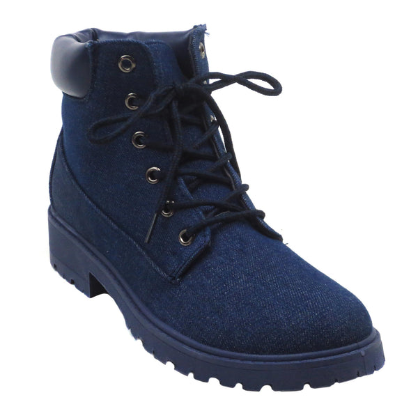 KIMBER MIL 8 - Denim Combat Boots - Blue Suede Shoes NY - Boots - Blue Suede Shoes NY