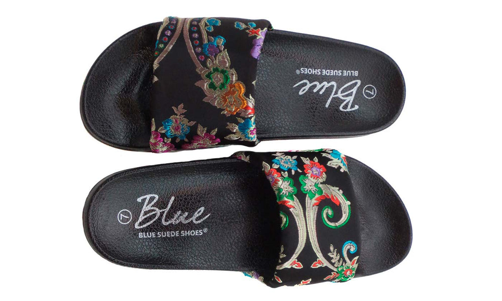 Gigi Asia - Embroidered Oriental Flowers Sandals - Blue Suede Shoes NY - Sandals - Blue Suede Shoes NY
