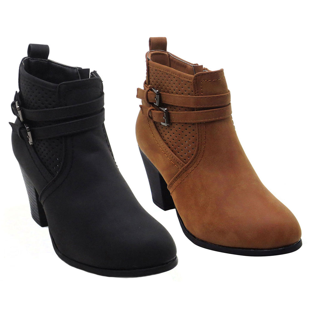 DOLDA-1 Low Heel Ankle High Side Zip Fashion Boots - Blue Suede Shoes NY - Boots - Blue Suede Shoes NY