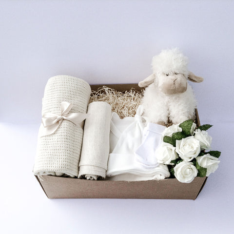 Large Leo Lamb Newborn Gift Box Present | Baby Boy or Baby Girl