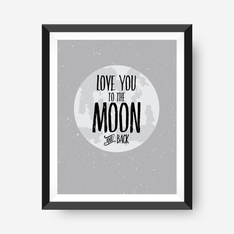 Love you to the Moon | Kids Wall Art | Nursery Art Print