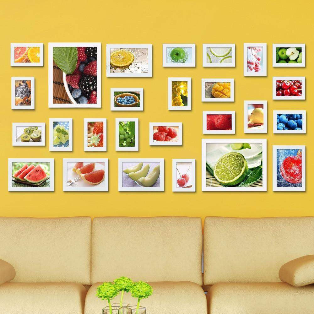 26 Pcs Creative Wall Mount Wood picture Photo Frame Wall Collage Home