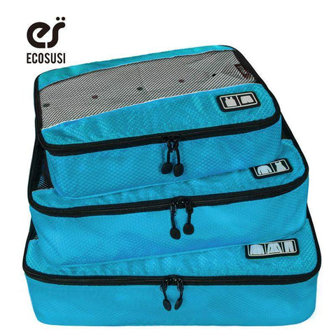 ECOSUSI New Travel Accessories Bag 3 Pcs Set Packing Cubes Polyester Bags  For Clothes Luggage ... b2431fa089215