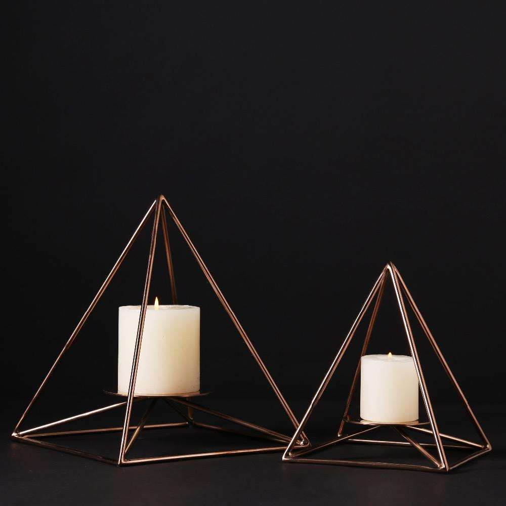 Gold Pyramid Shape Candle Stand Holder Metal Copper Handmade Iron Tealight Holder Wedding Christmas Home Decorative Accessories,UrbanLifeShop