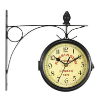 Vintage Decorative Double Sided Metal Wall Clock Antique Style Station Wall Clock Wall Hanging Clock Metal Frame + Glass Clock,UrbanLifeShop