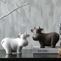 Nordic minimalist black/white matt ceramic cattle Figurines & Miniatures animal Ceramic crafts for home decor  Photography props,UrbanLifeShop