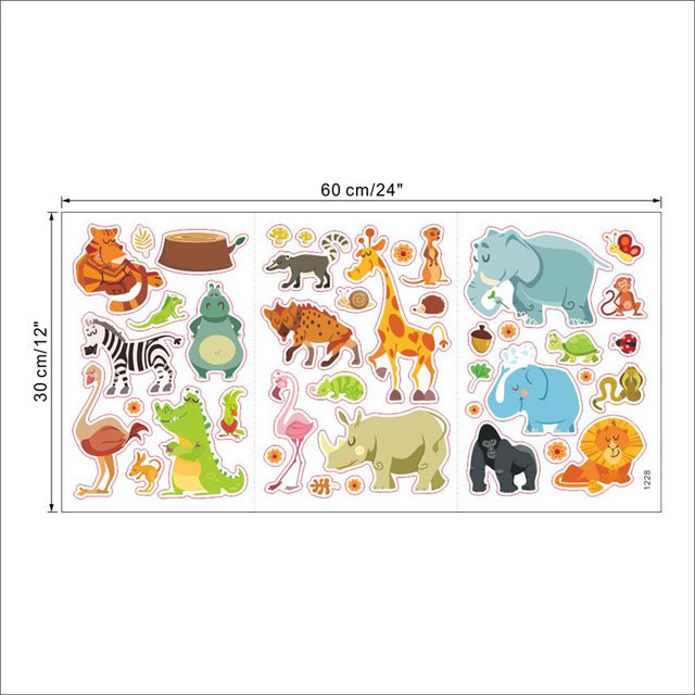 Jungle Animals Wall Stickers for Kids Rooms Safari Nursery Rooms Baby Home Decor Monkey Elephant Horse Wall Decals,UrbanLifeShop