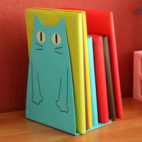 2 Pics/Lot bookend Desk Book Organizer School Shelves For Books Holder Stand Metal Bookends Iron Cute Animal cat color random,UrbanLifeShop
