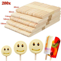200Pcs DIY Ice Cream Stick Wooden Popsicle Stick Kids Hand Crafts Art Ice Cream Lolly Cake DIY Making Funny Children gift,UrbanLifeShop