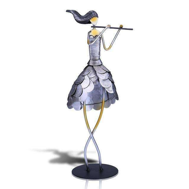 Tooarts Singing Girl Figurine Metal Handicraft Statuette Paint Fairy Music Craft Gift One Set Home Decoration Accessories,UrbanLifeShop