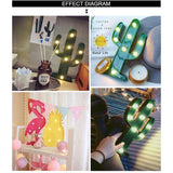 3D LED Night Light Flamingo Pineapple Cactus Night Lamp Romantic Table Lamp Marquee Home Christmas Decor Battery LED Nightlight,UrbanLifeShop