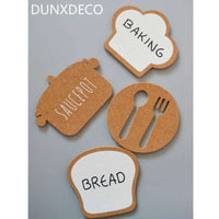 DUNXDECO 4PC Modern Nordic Bread Backing Natural Cork Coaster Tea Coffee Cup Mat Table Kitchen Gadgets Home Deco Gift Photo Prop,UrbanLifeShop