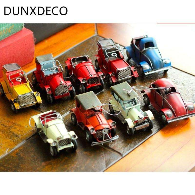 DUNXDECO Home Decoration Accessories Miniature Metal Craft 9pcs/Set Unique Iron Sheet Vintage Embellishment Old Finish Car Model,UrbanLifeShop