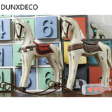 DUNXDECO 1PC Vintage Old Finish Painted Wooden Horse Crafts And Scrapbooking Desktop Display Home Decoration Carfts Gift,UrbanLifeShop