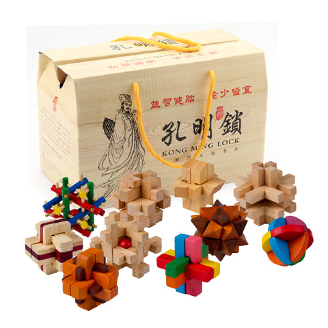 10pcs Set Wooden Educational Toys 3D Puzzle Brain Teaser Games Assembly IQ Toy For