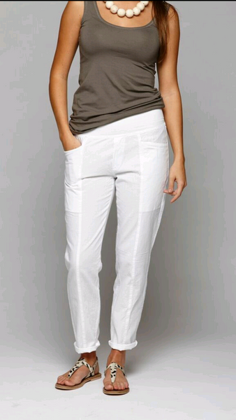 Narrow Leg Pant with Pleat Detail & Rib Waist