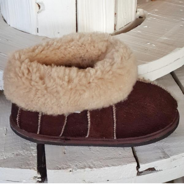 Block Sheepskin Slippers in Brown