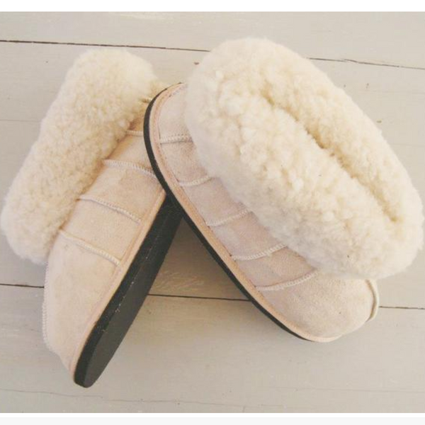 Block Sheepskin Slippers in Camel