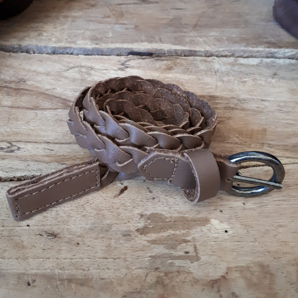 Ladies Plaited Med Brown Belt  20mm