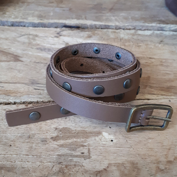 Ladies Studded Belt Brown 16mm